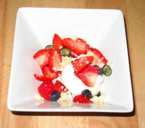 Strawberry Blueberry Tablet and Vanilla Ice Cream