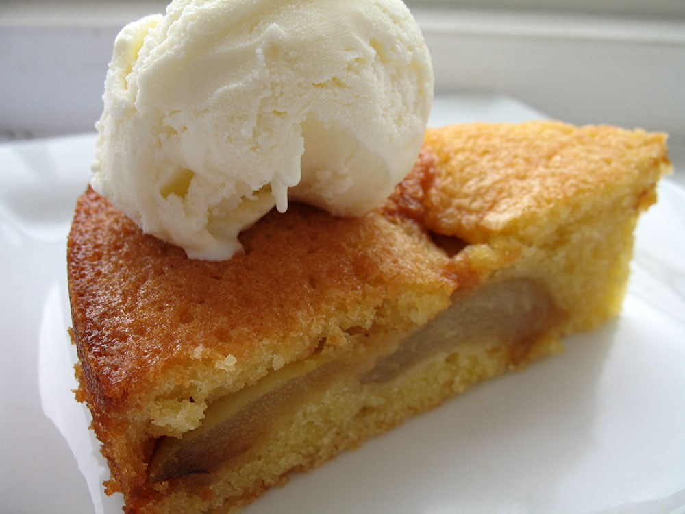Caramelised Pear and Almond Cake, with Vanilla Ice Cream