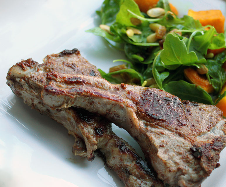 Indian Lamb Chop with Butternut Squash Salad